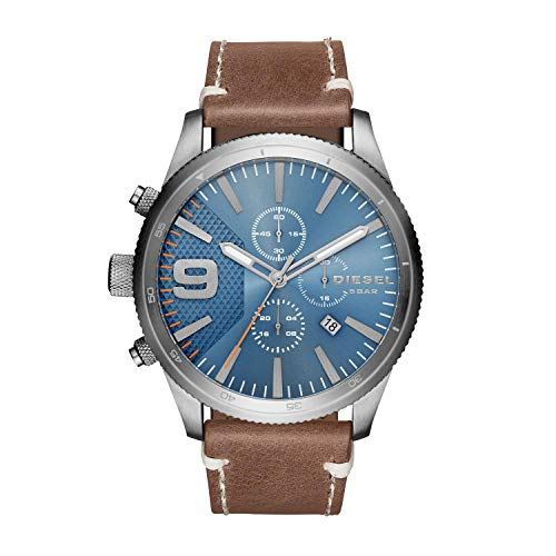 Diesel Mens Brown Leather - Diesel Men's DZ4443 Rasp Chrono Brown Leather Watch