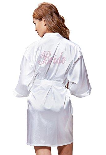 Turquaz Linen White Satin Kimono Rhinestone Bride Robe (XX-Large, Pink)