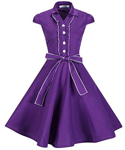 BI.TENCON Women's 1950s Vintage Cap Sleeve Ruffle Belted Purple Swing Party Dress M