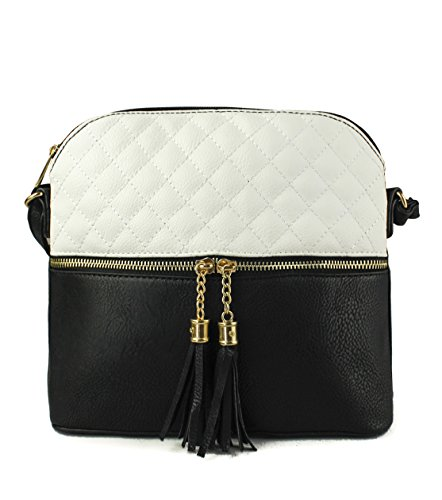 Crossbody Faux Zip Snakeskin Z823 Sling Foxlady Women's Quilted Leather Black Mini Tassel Trendy Handbag Ygaztq