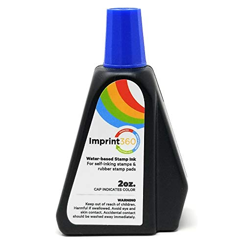 Supply360 AS-IMP125576 - Premium Self-Inking Stamp Ink Refill, Blue Ink in 2oz Bottle with Easy to use Drip Spout