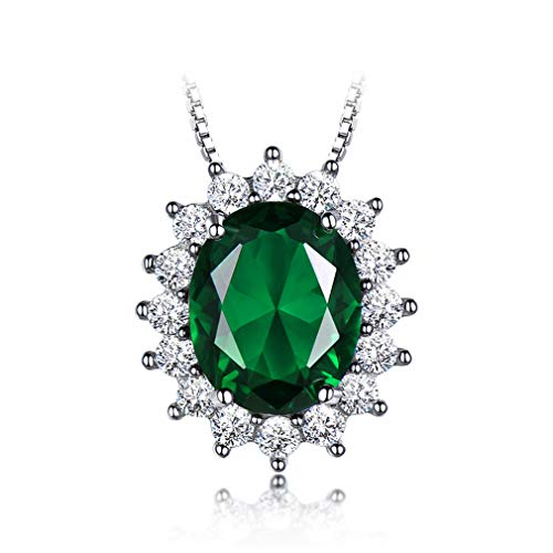 Oval 810Mm Gemstone Nano Emerald Pendant 925 Sterling Silver Necklaces For Women Wedding Gift Fine Jewelry With Chain Emerald Link Chain ()