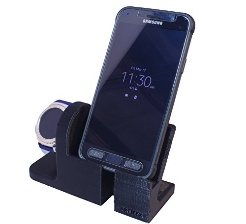 Samsung Gear S2 Stand, Artifex Charging Dock Stand for Samsung Gear S2 Classic and Sport, New 3d Printed Technology, Smartwatch Cradle (Gear S2 Combo)