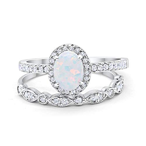 Blue Apple Co. Halo 2-Piece Art Deco Wedding Engagement Bridal Set Ring Band Oval Created White Opal Round Cubic Zirconia 925 Sterling Silver, Size-6