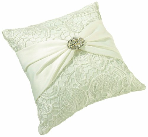 Pillow Rose Lace (Lillian Rose Cream Vintage Lace Wedding Ring Pillow)