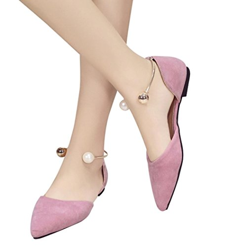 Clearance❤️Women Single Shoes, Neartime Female Metal Foot Ring Pearl Shallow Sandals Pointed Low Heel(1cm-3cm) Party Shoes