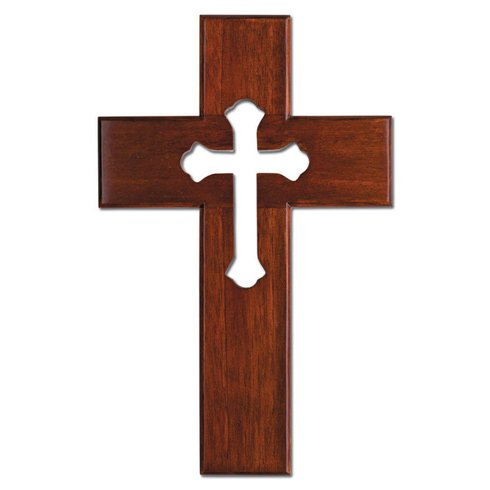 10in Mahogany Wood Wall Cross with Cut-Out Cross