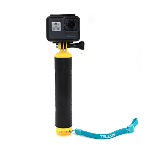 TELESIN Dive Buoy Handheld Floating Bobber Hand Grip for Gopro Hero 5 Black,Hero 5 Session,Hero 4 Session,Hero4/3+/3 Cameras and Tripod/pole Mount for All Water Sports (Type 2, Yellow)