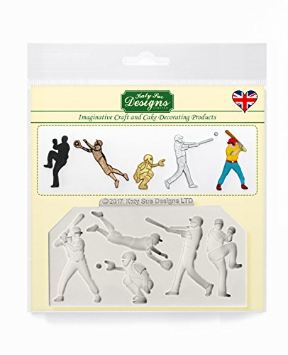 Baseball Silhouettes - Katy Sue Designs Silicone Mold for Cake Decorating Cupcakes Sugarcraft and Candies Baseball Silhouette