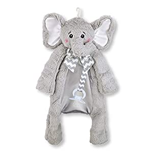 Bearington Baby Lil' Spout Pacifier Pet, Gray Elephant Plush Stuffed Animal Lovie and Paci Holder, 15″