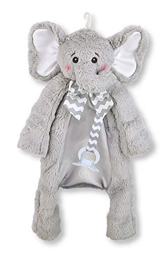 Bearington Baby Lil' Spout Pacifier Pet, Gray Elephant Plush Stuffed Animal Lovie and Paci Holder, 15