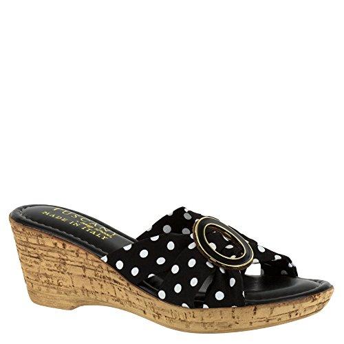 Facile Rue Womens Conca Tissu Bout Ouvert Sandales De Diapositive Noir-blanc-dots