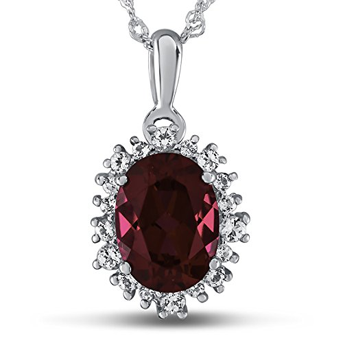 Finejewelers 10k White Gold Oval Created Ruby with White Topaz accent stones Halo Pendant (Oval Ruby Slide)