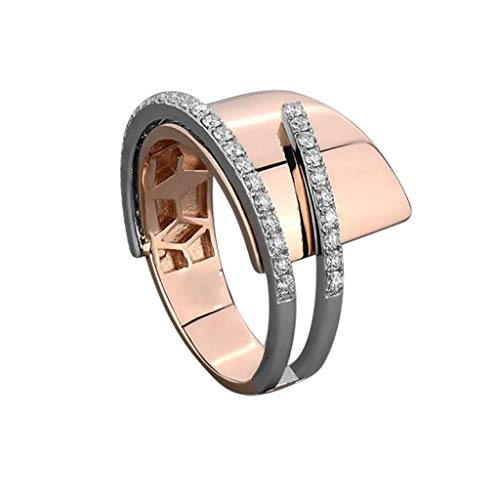Hattfart Cross Ring for Women Statement Engagement Ring Chunky Band Ring Wedding Band Cocktail Ring Size 6-10