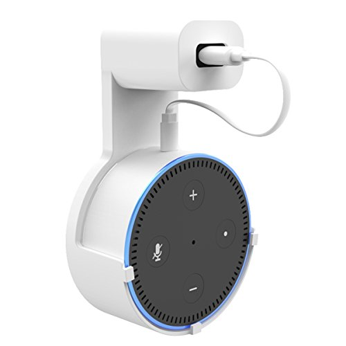 Echo Dot Wall Mount Hanger Stand for Dot 2nd Generation Case Hardware Brackets Hanger Stand Holder Compact Plug in Kitchens Bathroom (White) ()