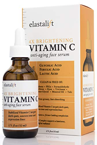 (Bonus size 1.75 fl oz Elastalift Vitamin C Serum for Age Spots, Wrinkles, Expression Lines. Anti-Aging Serum w/Vitamin C & Hyaluronic Acid brightens skin & helps promote a healthier skin complexion)