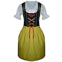 Dirndl World Womens Di20gs, German Bavarian 3 Piece Midi Dirndl Dress for Oktoberfest, Blouse, Apron, Size 8