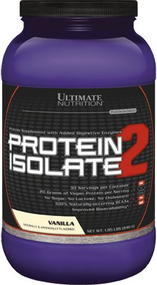 Ultimate Nutrition Protein Isolate 2 - Pea & Wheat Protein Blend - VEGAN (Vanilla, 1.85lb)