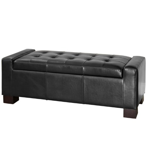 Best Selling Guernsey Black Leather Storage Ottoman