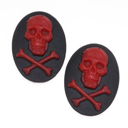 Style Lucite Oval Cameo Black With Red Skull & Crossbones 25x18mm (2) (Lucite Cameo Bead)