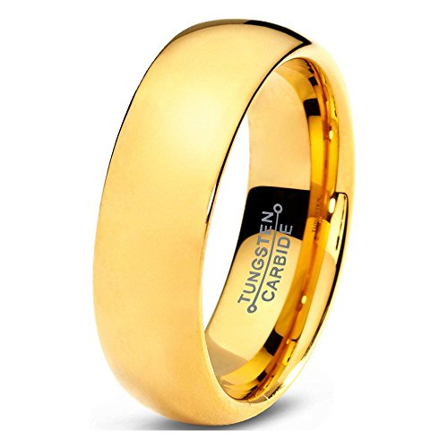 Tungsten Wedding Band Ring 7mm 5mm 2mm for Men Women Comfort Fit 18k Yellow Gold Plated Dome Polished FREE Custom Laser Engraving Lifetime (18k Dome Ring)