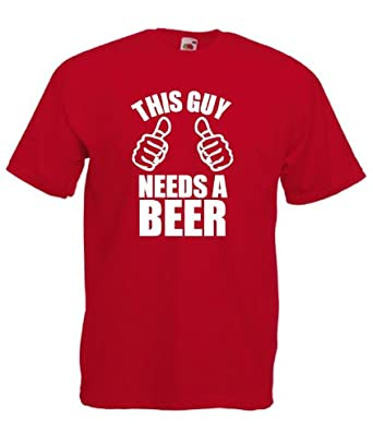 This Guy Needs A Beer Mens Funny T-Shirt / Funny Gift (Red, X ...