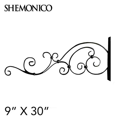 Shemonico 100% Wrought Iron Ornamental Sign Hanger Wall Bracket Store Advertising with Bracket 9