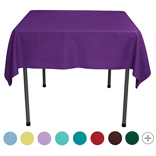 VEEYOO 54 inch Square Solid Polyester Tablecloth for Wedding Restaurant Party, Purple (Purple Square Tablecloth)