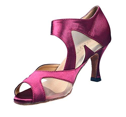 Tango 6 Purple Jane M Sandals Latin Shoes Toe Womens Salsa Mary Heel Ballroom Satin QJ6137 MINITOO Dance High UK Peep FqznYg