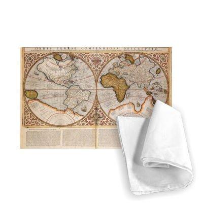 (Double Hemisphere World Map, 1587 (coloured.. - Tea Towel 100% Cotton - Art247 - Tea Towel - 46x70cm)