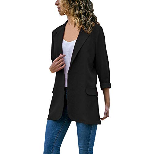 iFOMO Women Blazer Coat Casual Solid Cardigan Outwear Lapel Blazer Jacket(Black,XL) ()