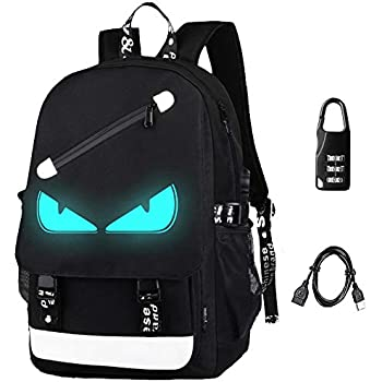 172ff32647 Anime Backpack Luminous Backpack Men School Bags Boys Girls Cartoon Bookbag  Noctilucent USB Chargeing port anti-theft Daybag Women (Evil eye)