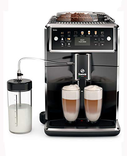 Saeco super-automatic espresso coffee machine with an adjustable grinder, milk frother, maker for brewing espresso, cappuccino, latte, macchiato. Xelsis SM7580/00