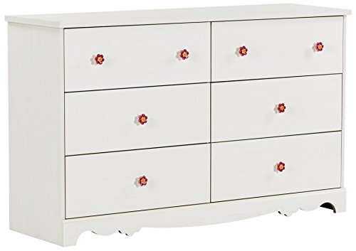 South Shore Lily Rose 6-Drawer Double Dresser, White Wash with Flower-Shaped Ceramic Handles