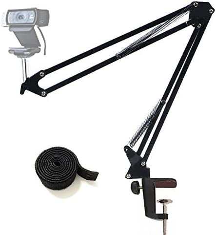 Tencro Adjustable Desktop Webcam Stand Suspension Boom Scissor Arm Holder Camera Desk Clamp Mount for Logitech Webcam C922 C930e C930 C920 C615, Microphone Shure MV5 as well as Other Devices with 1/4″ Thread