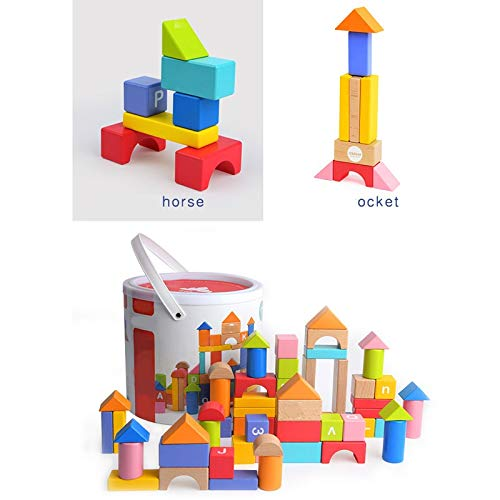 Lxrzls Large Wooden Building Blocks-Preschool Education for Toddler Children-Stacking Toys-Wooden Shape to Build Blocks Children's Educational Toys by Lxrzls (Image #6)