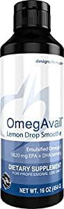 Designs for Health - OmegAvail Lemon Drop Smoothie - 1100mg EPA + 720mg DHA Triglyceride (TG) Fish Oil, 16 oz