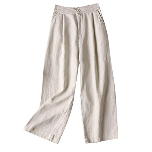 wodceeke Womens Palazzo Pants, Summer Linen Pants Wide Leg High Waisted Drawstring Casual Long Trousers - Linen Metallic Pants