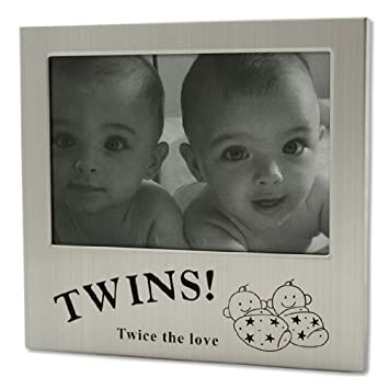 Amazon.com : Silver Twice the Love Twins Photo Frame by Shudehill ...