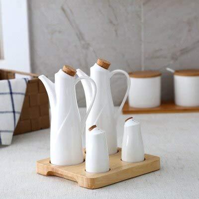 Herb & Spice Tools | Ceramic Salt Pepper Oil Bottle Set Japan Style Porcelain Olive Soy Seasoning Home Oil Vinegar Bottles Kitchen Cooking Tools | By ATUTI by ATUTI