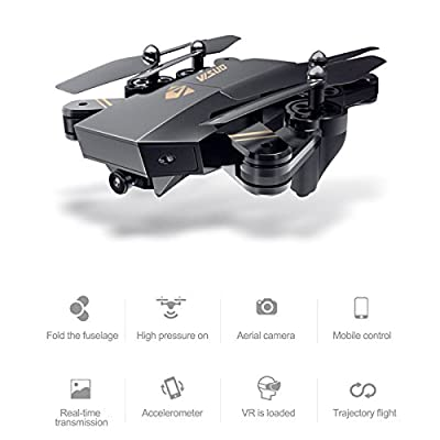 AURELIO TECH RC Foldable Flight Path FPV VR Wi-Fi RC Quadcopter 2.4 GHz 6-Axis Gyro Remote Control Drone with 720P HD, 2MP Camera Drone, Bonus Battery by AURELIO TECH