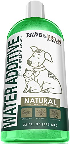 Paws & Pals 32oz Pet Dog Water Additive Breath Freshener Mouthwash for Fresh Teeth Cleaning Plaque Tartar Remover Cat Oral Dental Care ()