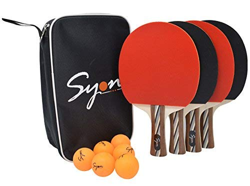 Ping Pong or Table Tennis paddle set of 4 with 6 Professional Ping Pong Balls, Carry Case|Premium Quality Table Tennis Racket|Perfect Speed,Spin and Control|Great gift Idea|Indoor and Outdoor paddles
