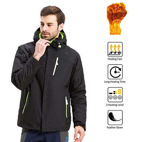 OUTANY Men's Heated Jacket,Black,Men's Novelty Hoodies,5V,USB,Men's Activewear,with Hood Waterproof Wind Resistant and Anti-fouling(Power Bank not Included),XL (2 Block Connecting Zone)