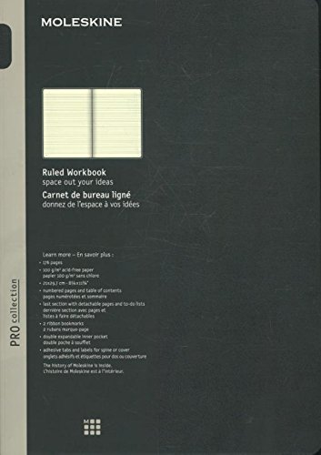 Moleskine Pro Collection Workbook, A4, Ruled, Black, Hard Cover (12 x 8.5) 8051272891416 NON-CLASSIFIABLE