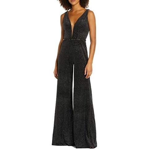 Mac Duggal Women's Wide Leg Velvet Jumpsuit, Black Size 8