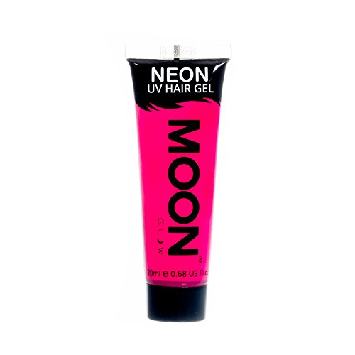 Moon Glow - Blacklight Neon UV Hair Gel - 0.67oz Intense Pink – Temporary wash out hair color - Spike and Glow!