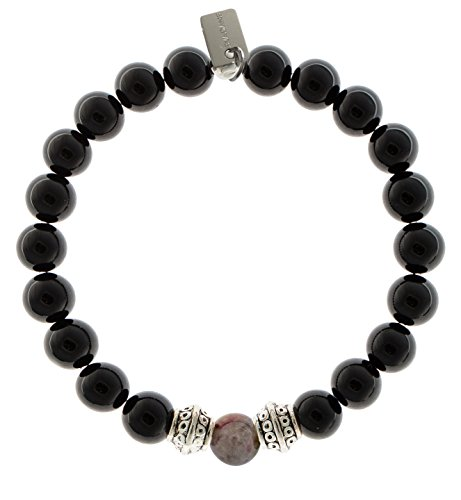 Tourmaline Center (EvaDane Natural Black Onyx Gemstone Tibetan Bead Tourmaline Center Stone Stretch Bracelet - Size 7 Inch ( 1_ONY_S_T_S-TOU_7))