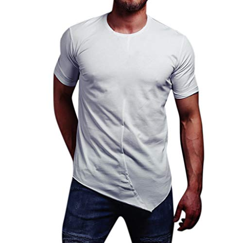 FEDULK Men's Casual T-Shirt Pure Color Short Sleeve Round Neck Lightweight Slim Stretch Tee Blouse Tops(White, X-Large) ()