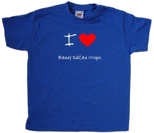 I Love Heart Ready Salted Crisps Royal Blue Kids T-Shirt (White print)-14-15 Years